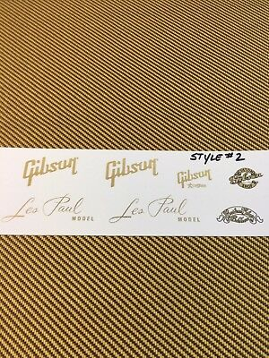 Gibson Les Paul Gold Metallic Waterslide Decal set Style #2 Custom Shops