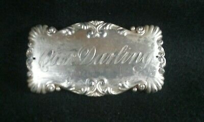 """Beautifully Engraved Antique """" Our Darling"""" Child's Coffin Casket Plaque Plate"""