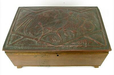 Antique Arts & Crafts Repoussé Copper Sewing Box with Wild Roses Marked 1913