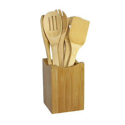 6x/Set Bamboo Utensil Kitchen Wooden Cooking Tools Spoon Spatula Mixing  XS