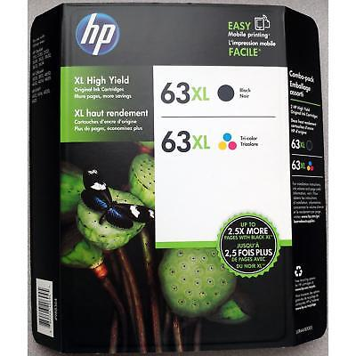 HP Genuine 63XL Black Color Ink Cartridges EXP 03/2020 Combo-Pack DAMAGED BOX