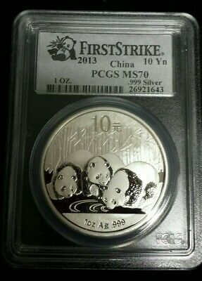 2013 1oz China Panda 10 Yuan .999 Silver Coin First Strike PCGS MS70