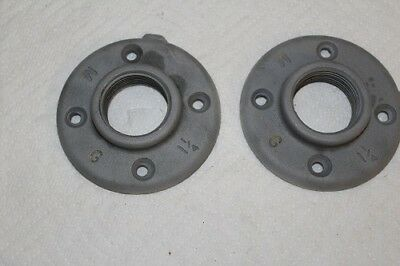 Two 1-1/4 NPT Floor Flanges Malleable Iron Black Pipe Excellent Condition