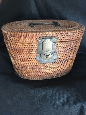 Chinese Antique Teapot Caddy Wicker/Rattan Basket Brass Hardware. As Is