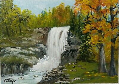Aceo, acrylic,original, landscape, A Scenic Waterfall In Autumn by Donna Otey
