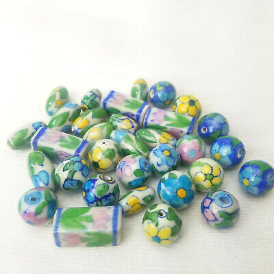 Vintage New Old Stock Ceramic Floral Painted BEADS 10PC Your Choice of Style