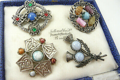Vintage Jewellery Mixed Lot Scottish Agate Glass Brooches/pins
