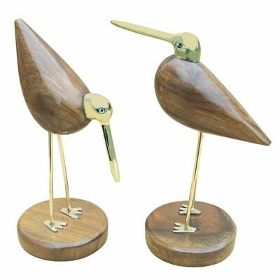 G4374: Wattvogel Pair, Maritime Decor Made of Sheesham Wood and Brass, Carved