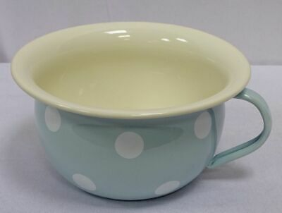 G1609: Nostalgia Enamel Night, Pee Pot,Chamber Pot Dots Light Blue