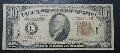Series of 1934 A $10 Hawaii Federal Reserve Note US OLD PAPER MONEY VG-FINE