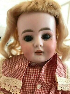 "14"" Unmarked Bisque Doll Sleeper Eyes Open Mouth Teeth Wood Body Period Clothing"