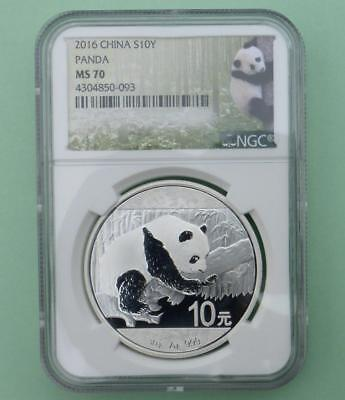 2016 NGC MS 70 China 10 Yuan Silver Coin, 30g .999 Fine Silver 10 Y Coin