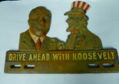 #106A Drive ahead with Roosevelt license plate promotional campaign giveway 1936