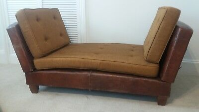 Tremendous Vintage Brown Leather Sofa Chaise Longue 250 00 Onthecornerstone Fun Painted Chair Ideas Images Onthecornerstoneorg