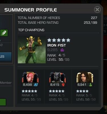 MCOC Marvel Contest of Champions account-253k Rating & 223 Heroes⭐️⭐️⭐️⭐️⭐️