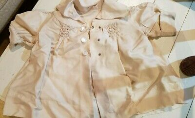 Vintage Antique 1920s Childrens Cream Coat with Smocking.  Large Doll Bear Coat