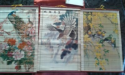 Antiguos Cuadros Chinos Madera Enrollable Vintage - Chinese Paintings Wood