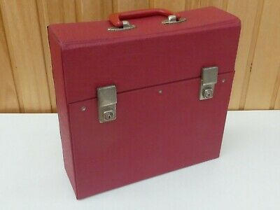 Vintage LP Record Carrying Case in Red with Keys