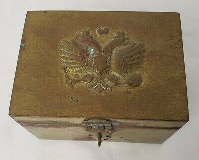 Antique Russian Imperial Brass Tin Lined Tea Caddy Lock Box Double Headed Eagle