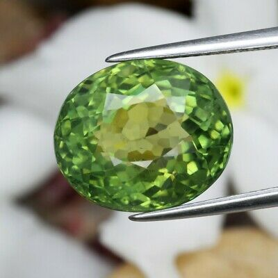 9.48ct 13x11mm Oval Natural Unheated Yellowish Green Apatite, Brazil