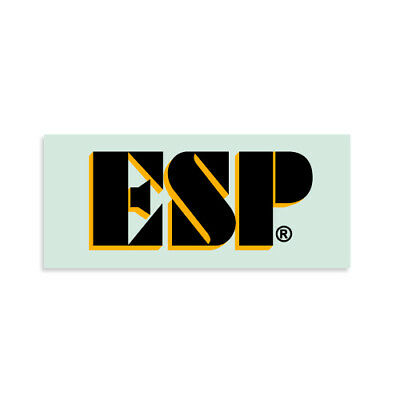 ESP® Logo Kamikaze® Waterslide Headstock Decal BLACK w/ GOLD Reverse Banana