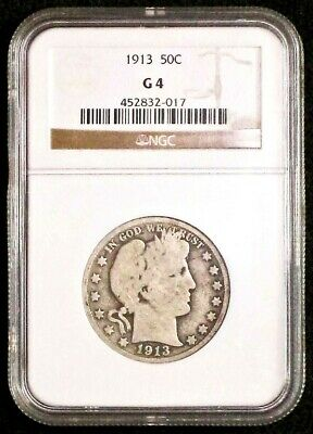 1913 Barber Half Dollar NGC Graded G4 *Low Mintage (188,000) Nice coin