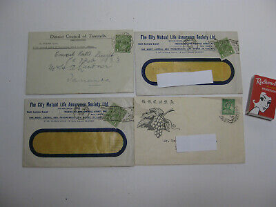 Vintage LETTERS 1932-33 Water Rates Insurance Stamps advertising South Australia