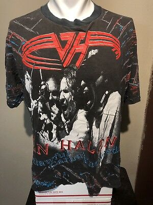 VTG 1991 Van Halen For Unlawful Carnal Knowledge All-Over Print Promo Tee-XL