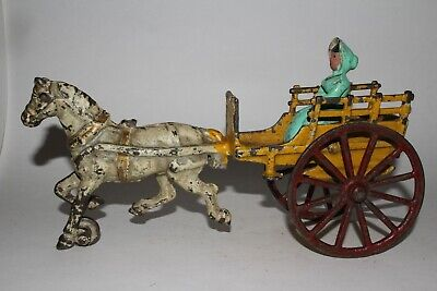 Early 1900's Cast Iron Horse Drawn Buggy with Woman Driver, Original