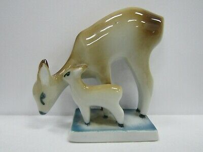 Vintage Zsolnay Deer With Fawn Porcelain Figurine