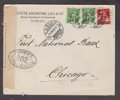 Switzerland - 1916 Censored cover with 3 perfin stamps mailed to USA