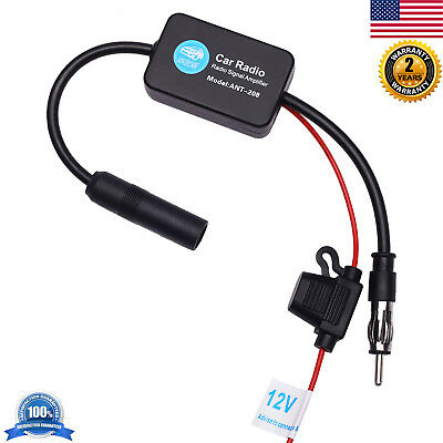 Universal 12V Car Auto Antenna Radio FM AM Signal Amp Amplifier Booster Inline