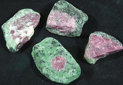 A Lot of FOUR 100% Natural Red RUBY Crystals With Zoisite! From Tanzania 108gr e