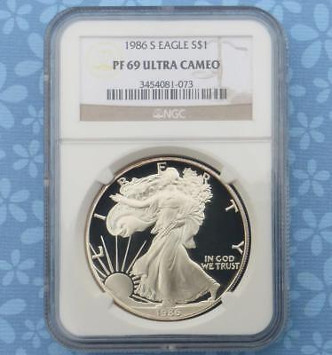 1986 S NGC Proof 69 Ultra Cameo Silver Eagle Dollar, Gem PF69 UCam, 1st Year