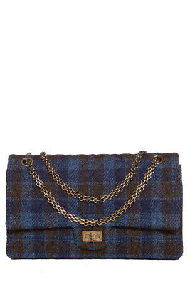 2f3c5a8cf2d435 Chanel Reissue Blue & Brown Quilted Tweed Double FlapBag Sale
