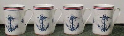 4 Gracie Stenchcol Mug  Cup  Red, White, Blue Anchor  Nautical  NEW Bone China