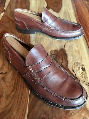 1f6e1ab893d Barneys New York Brown Leather Penny Loafers Made in Italy Mens US Size 9 M
