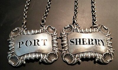 Pair of Antique Georgian Sterling Silver Decanter Labels 1814 by William Ellerby