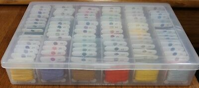 DMC Embroidery Floss Cotton 6 Strand Organizer Box Lot of 91 Color Range 816-995