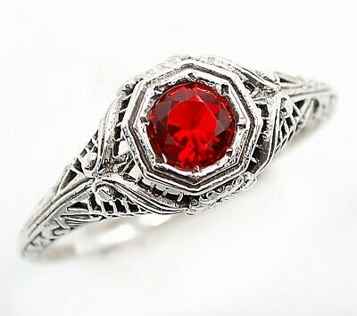 1CT Ruby 925 Solid Sterling Silver Vintage Art Filigree Ring Jewelry Sz 6