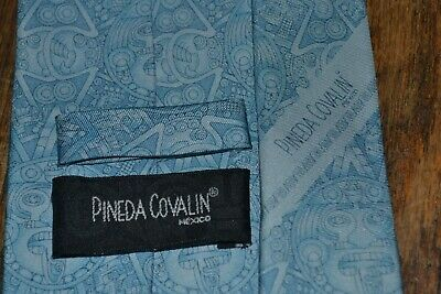 Pineda Covalin Blue Stone Of The Sun 100% Silk Tie Made In Mexico New With Tag