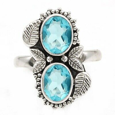 Top Quality Aquamarine 925 Solid Genuine Sterling Silver Ring Jewelry Sz 9