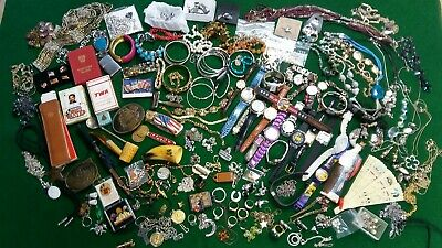 HUGE! Vintage JUNK DRAWER/JEWELRY Lot Mens & Womens Mixed Lot Over 10 Lbs