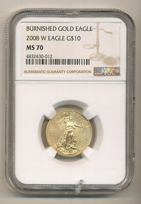 2008-W $10 NGC MS70 BURNISHED American GOLD Eagle 1/4 ounce KEY Date
