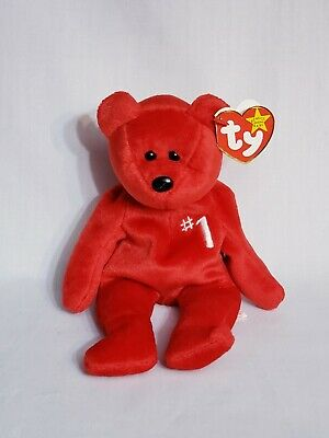 Ty Beanie Babies Baby #1 Bear Employee Bear Red W #1 On Chest Has All Tags Rare