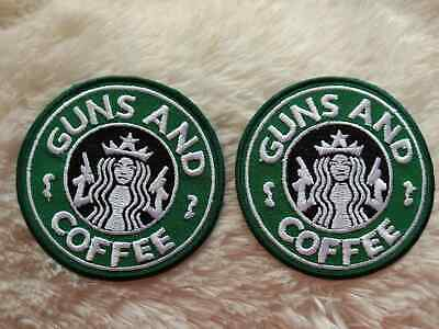 Lot of 2 STARBUCKS Guns and Coffee Craft Embroidery Sew Iron On Patch