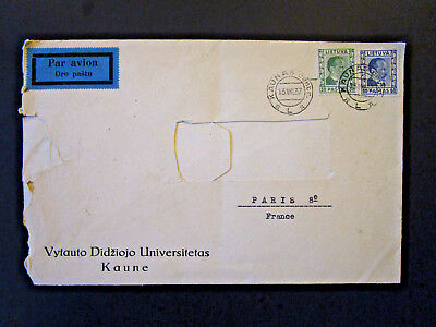 Lithuania 1937 Airmail Cover to France / Address Cut Out (I) - Z5385