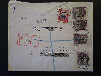 Lithuania 1933 Registered Cover to London / Address Cut Out - Z5387