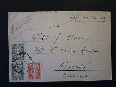 Lithuania 1933 Postal Card to Canada / Small Top Tear - Z5380