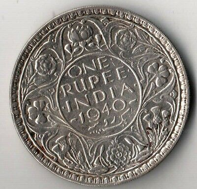 India One Rupee 1940 George Vi Silver  Argento Rare Coin